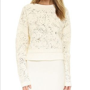 Ronny Kobo Naimi Crochet Cropped Sweater